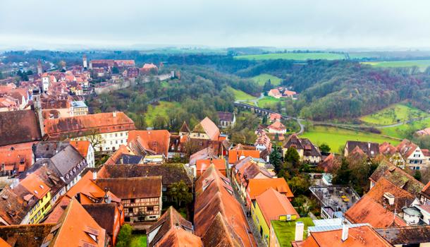 aerial of  Rothenburg ob der Tauber