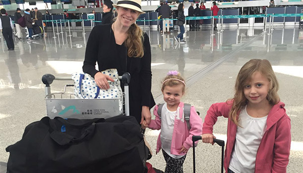 Nic & Girls at airport