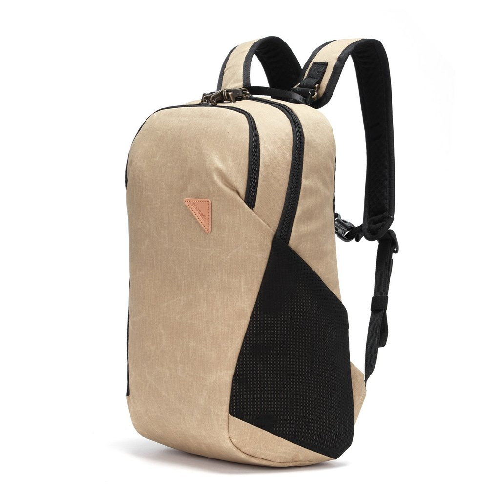 This Vibe Recycled Backpack is anti-theft and has a solid 20 liter capacity